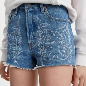 Levi's 501 high rise denim embroidered shorts